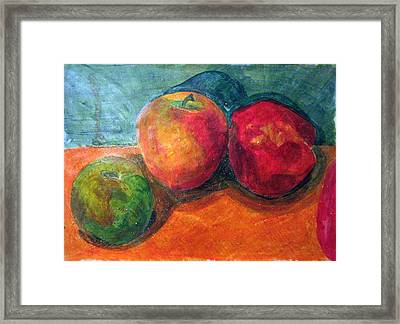 Still Life With Apples Framed Print by Jame Hayes