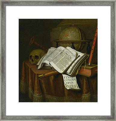 Still Life With Astrological Globe Framed Print