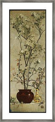Still Life With Azaleas And Apple Blossoms Framed Print