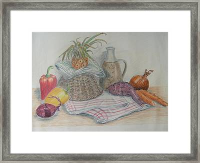 Still Life With Baby Pineapple Framed Print by Geraldine Leahy