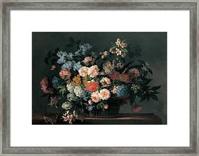 Still Life With Basket Of Flowers Framed Print by Jean-Baptiste Monnoyer