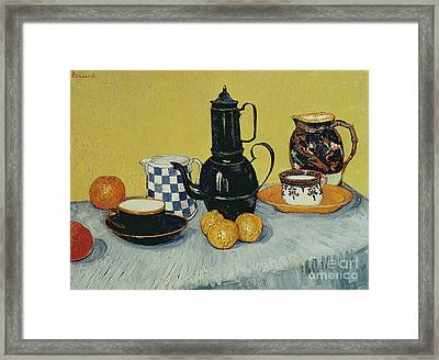 Still Life With Blue Enamel Coffeepot, Earthenware And Fruit, 1888 Framed Print by Vincent Van Gogh