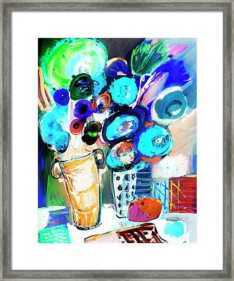 Still Life With Blue Flowers Framed Print by Amara Dacer