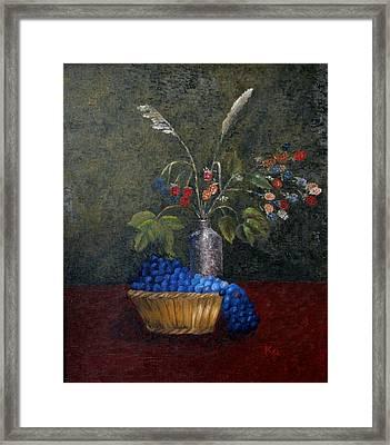 Still Life With Blue Fruit Framed Print