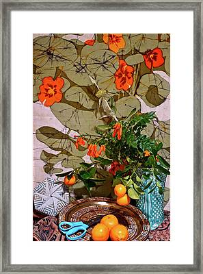 Still Life With Blue Scissors 2 Framed Print by Bonnie See