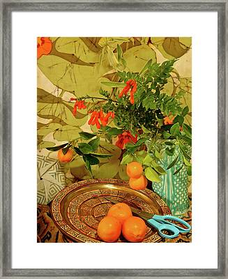Still Life With Blue Scissors Framed Print by Bonnie See