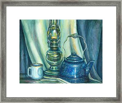 Still Life With Blue Tea Kettle Framed Print by Colleen  Maas-Pastore