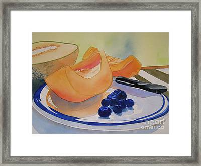 Still Life With Blueberries Framed Print by Teresa Boston