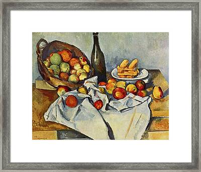 Still Life With Bottle And Apple Basket Framed Print