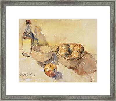 Still Life With Bottle And Apples Framed Print