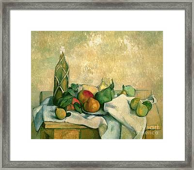 Still Life With Bottle Of Liqueur Framed Print by Paul Cezanne