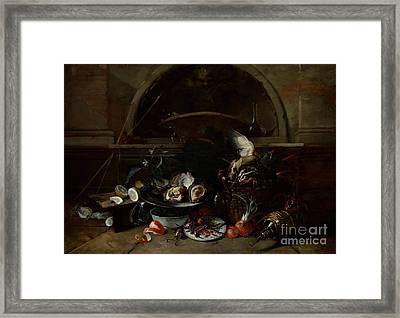 Still Life With Bottles And Oysters Framed Print