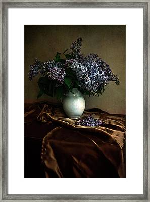 Framed Print featuring the photograph Still Life With Bouqet Of Fresh Lilac by Jaroslaw Blaminsky