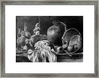 Still Life With Bread Framed Print by Mikhail Savchenko