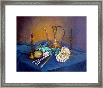 Still Life With Candlesticks And Brass Framed Print by Stephen  Hanson