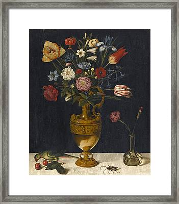 Still Life With Carnations And Other Flowers In A Gilt Vase A Parrot And A Beetle Framed Print