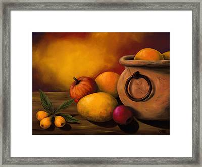 Still Life With Ceramic Pot Framed Print by Enaile D Siffert