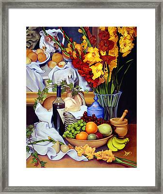 Still Life With Cezanne Framed Print