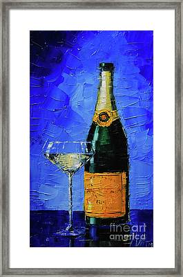Still Life With Champagne Bottle And Glass Framed Print