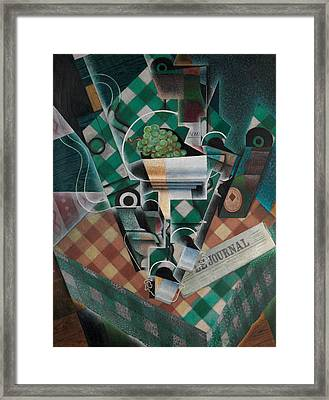 Still Life With Checked Tablecloth Framed Print by Juan Gris