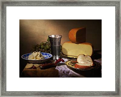 Still Life With Cheeses And Pewter Cup Framed Print