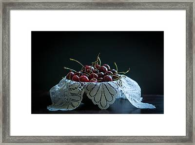 Still Life With Cherries Framed Print by Maggie Terlecki