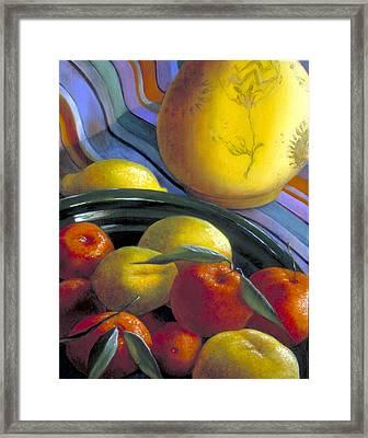 Still Life With Citrus Framed Print by Nancy  Ethiel