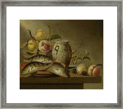Still Life With Clay Jug, Fish And Fruits Framed Print
