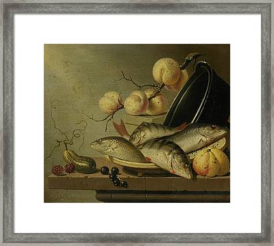 Still Life With Fish And Fruits Framed Print by Harmen Steenwijck