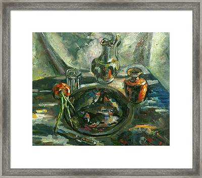 Still Life With Fish   Framed Print by Nina Silaeva