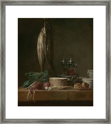 Still Life With Fish, Vegetables, Gougeres, Pots, And Cruets On A Table  Framed Print by Jean-Baptiste-Simeon Chardin