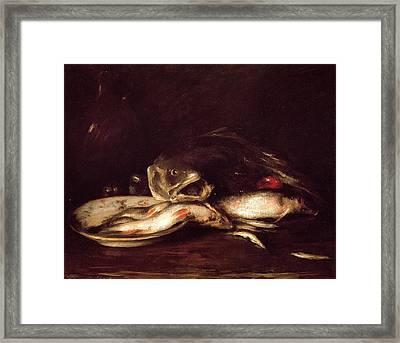 Still Life With Fish Framed Print by William Merritt