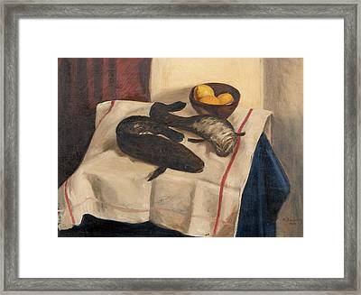 Still Life With Fishes Framed Print by Hugo Simberg