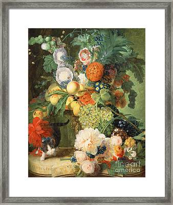Still Life With Flowers And Cat Framed Print
