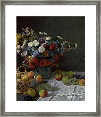 Still Life With Flowers And Fruit By Claude Monet Framed Print by Esoterica Art Agency