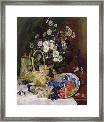 Still Life With Flowers And Fruit Framed Print by Eugene Henri Cauchois