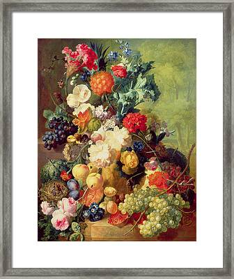 Still Life With Flowers And Fruit Framed Print by Jan van Os
