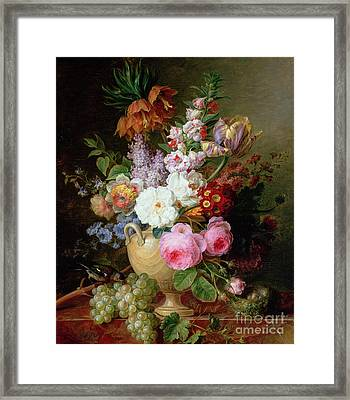 Still Life With Flowers And Grapes Framed Print by Cornelis van Spaendonck