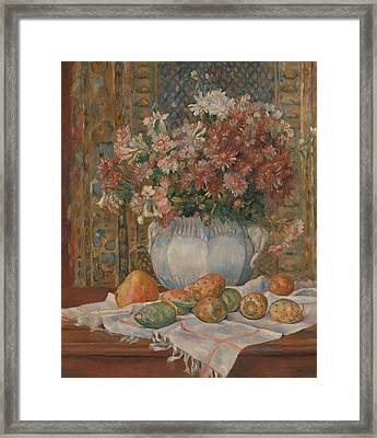 Still Life With Flowers And Prickly Pears Framed Print
