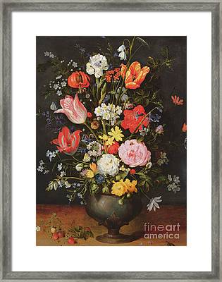 Still Life With Flowers And Strawberries Framed Print by Jan the Younger Brueghel