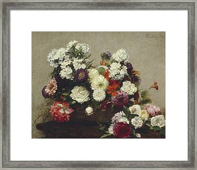 Still Life With Flowers Framed Print by Ignace Fantin-Latour