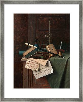 Still Life With Flute Vase And Roman Lamp Framed Print
