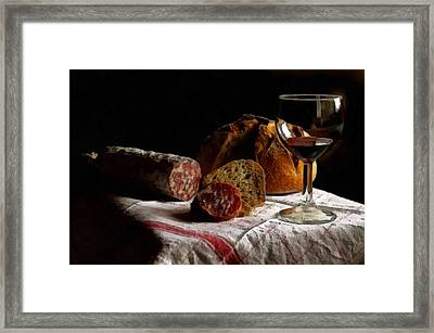 Still Life With Food And Wine L B Framed Print