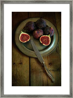 Still Life With Fresh Figs On A Silver Plate Framed Print