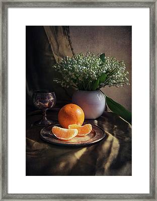 Still Life With Fresh Flowers And Tangerines Framed Print