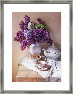 Framed Print featuring the photograph Still Life With Fresh Lilac And China Pots by Jaroslaw Blaminsky