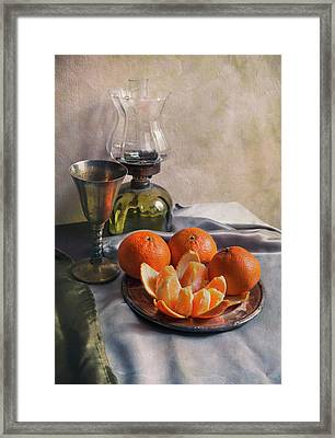 Framed Print featuring the photograph Still Life With Fresh Tangerines And Oil Lamp by Jaroslaw Blaminsky