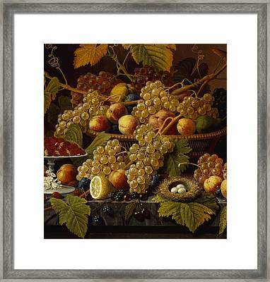 Still Life With Fruit, 1854 Framed Print by Severin Roesen