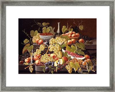 Still Life With Fruit And Champagne Framed Print by Severin Roesen