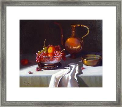 Still Life With Fruit And Cut Glass Bowl Framed Print by David Olander